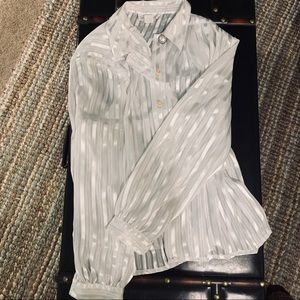 Women's 14 Vintage Blouse - White & Gold Stripes